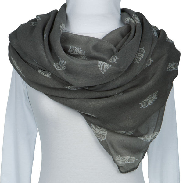 Grey Owl Repeat All-Over Scarf