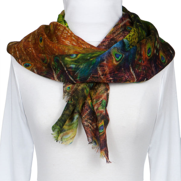 Peacock Feathers All-Over Scarf