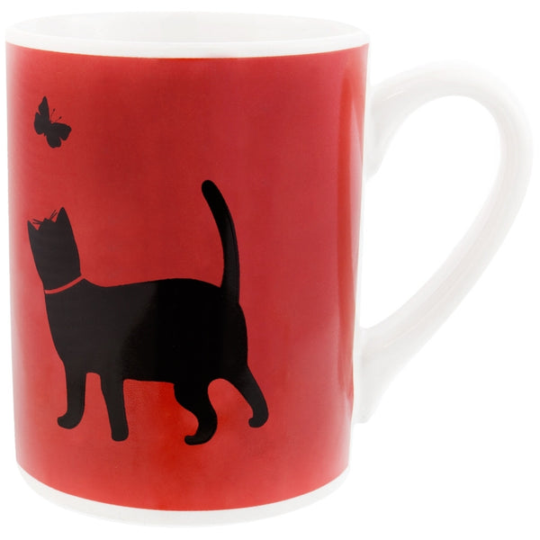 Cat Chasing Butterfly Prints Coffee Mug