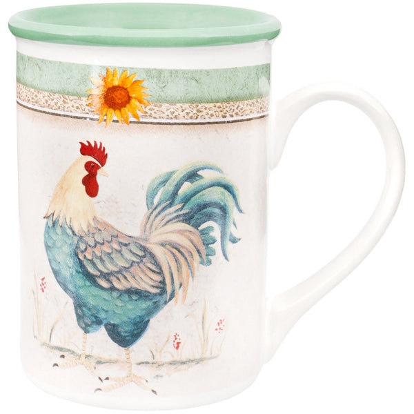 Rooster Morning Call Green Coffee Mug
