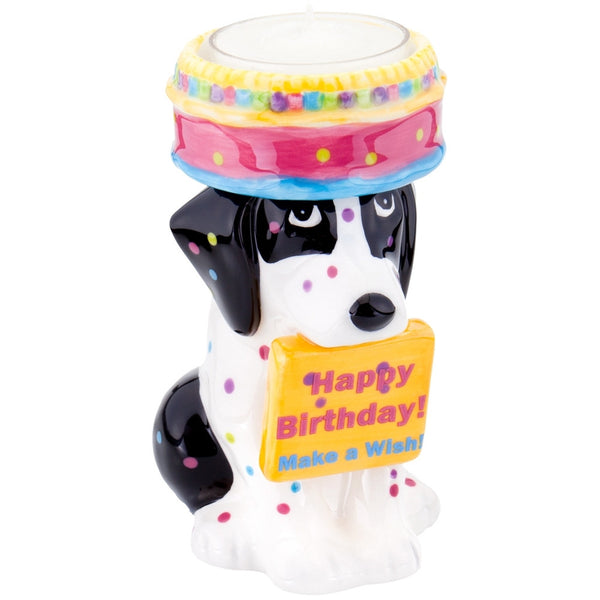 Foxhound Puppy With Birthday Cake Candle Holder