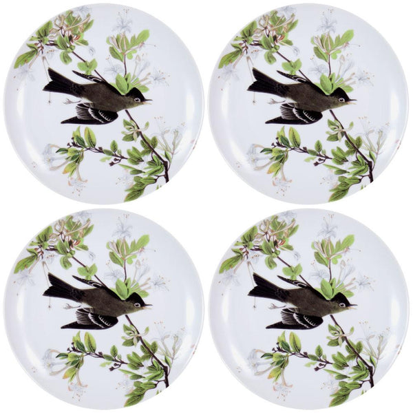 Western Wood Pewee Flying In Branches Set of Four Dessert Plates