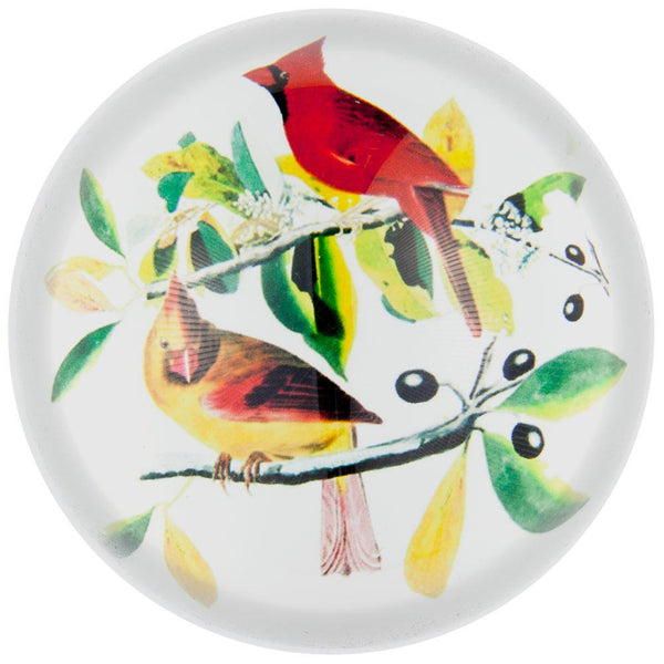 Cardinals In a Tree Glass Paperweight