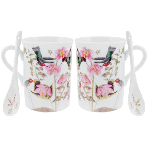 Anna's Hummingbirds In Flowers Set of Two Mugs With Spoons