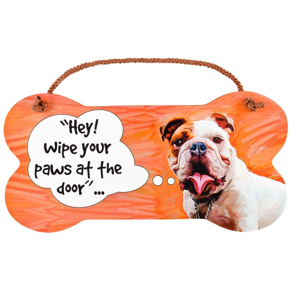 Bulldog Wipe Your Paws Wall Sign