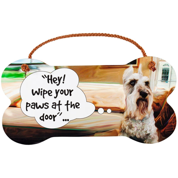 Schnauzer Wipe Your Paws Wall Sign