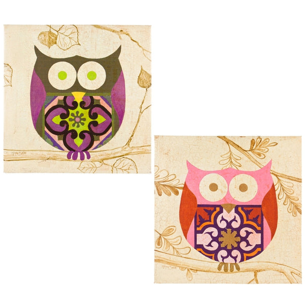 Owl Art Deco Body Two Piece Canvas Art