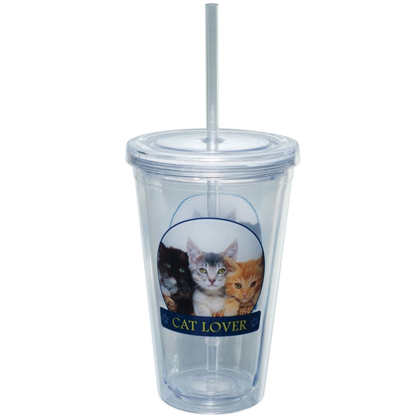 Cat Lover Portait Plastic Pint Cup With Straw
