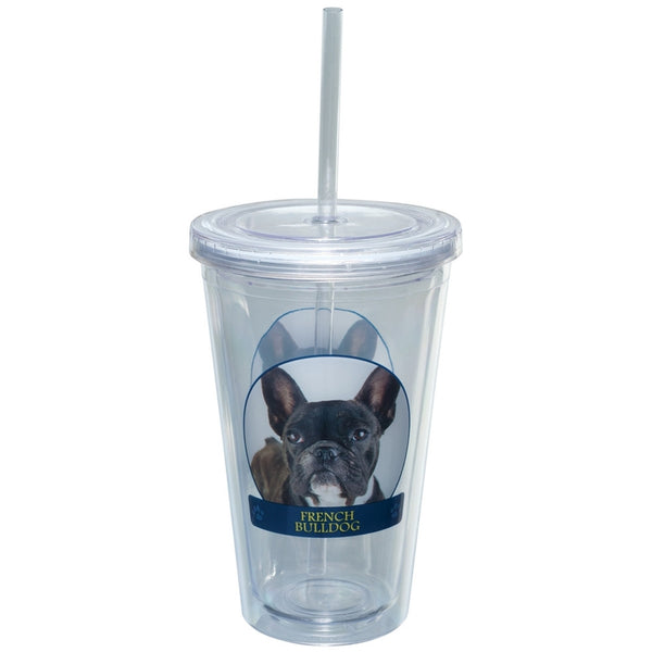 French Bulldog Portait Plastic Pint Cup With Straw