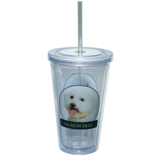 Bichon Frise Portait Plastic Pint Cup With Straw