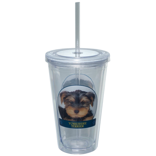 Yorkshire Terrier Portait Plastic Pint Cup With Straw