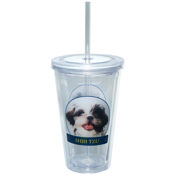 Shih Tzu Portait Plastic Pint Cup With Straw