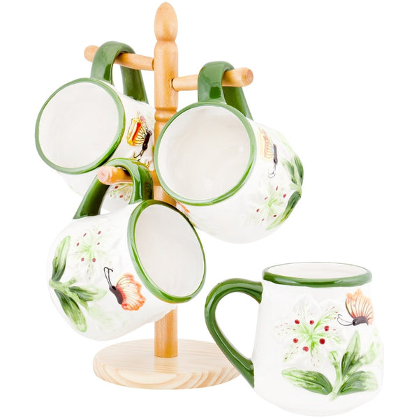 Butterflies & Flowers Four Piece Coffee Mug Set With Stand