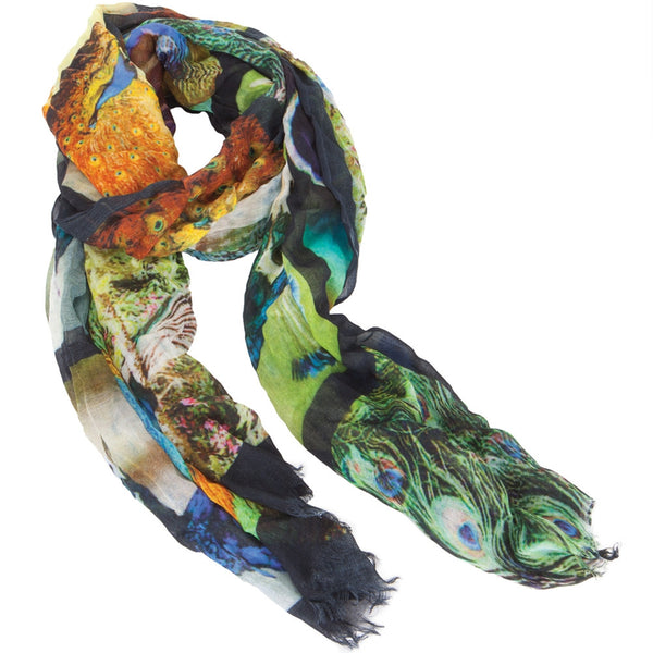 Peacock Boxes All-Over Scarf