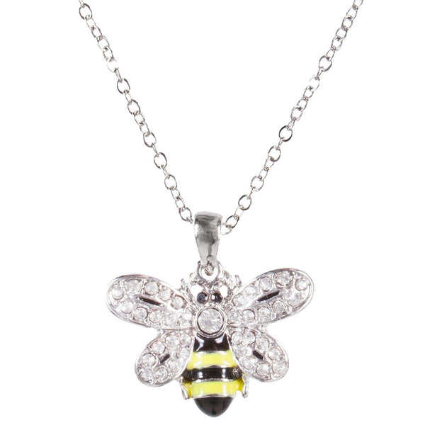 Bee Body With Gem Wings Pendant Necklace