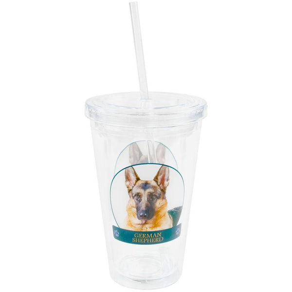 German Shepherd Portait Plastic Pint Cup With Straw