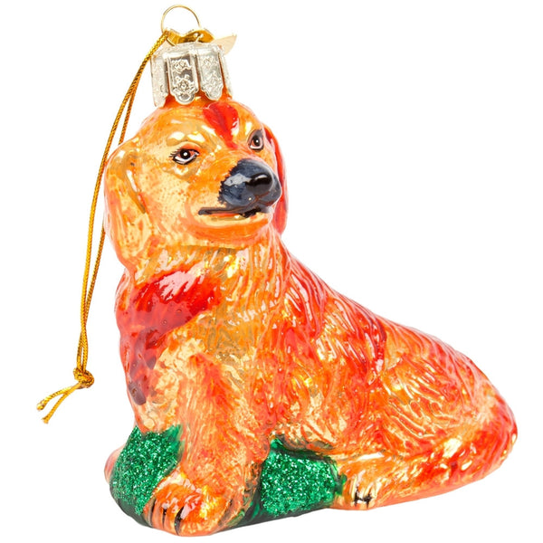 Noble Gems Golden Retriever Glass Ornament