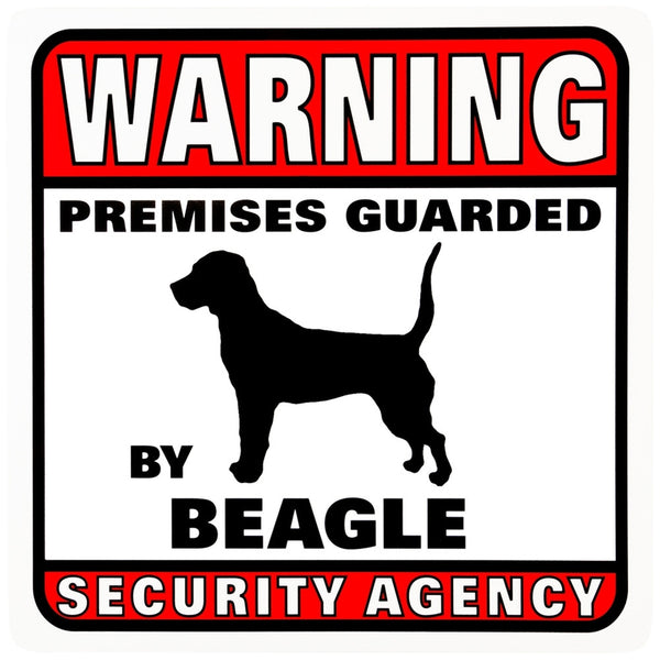 Beagle Warning Premises Guarded Sign