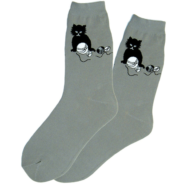 Black Kitten Grey Socks