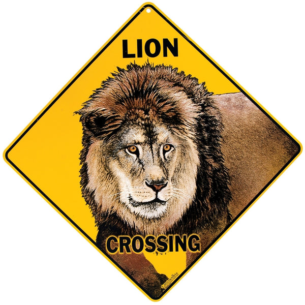 Lion Crossing Aluminum Sign