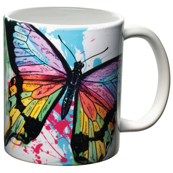Butterfly Sun Powered Splash White Ceramic Mug