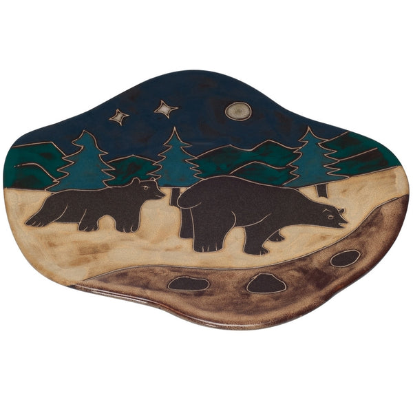 Bears at Night Wave Dinner Plate