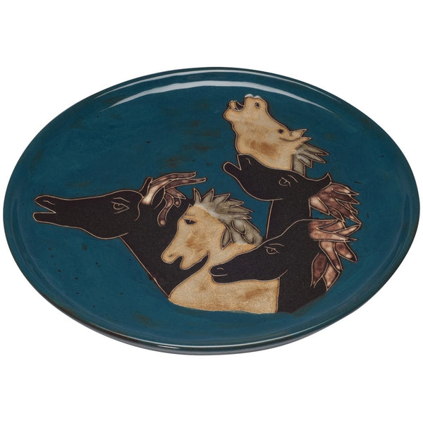 Horses Running Hand-Etched Serving Platter