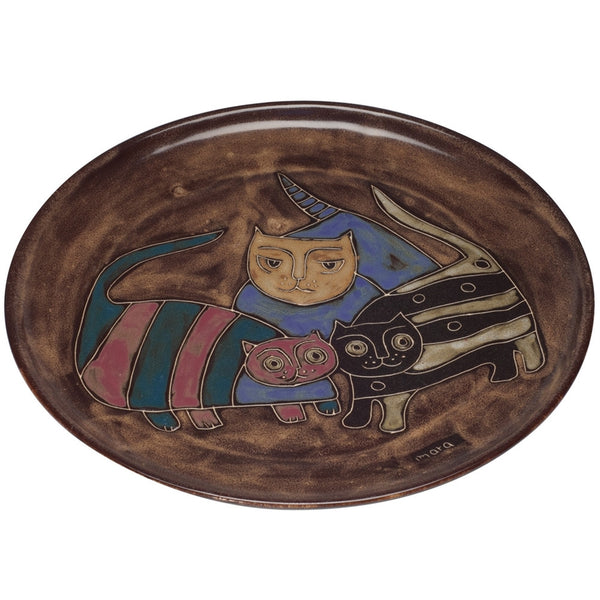 Colorful Cats Hand-Etched Serving Platter