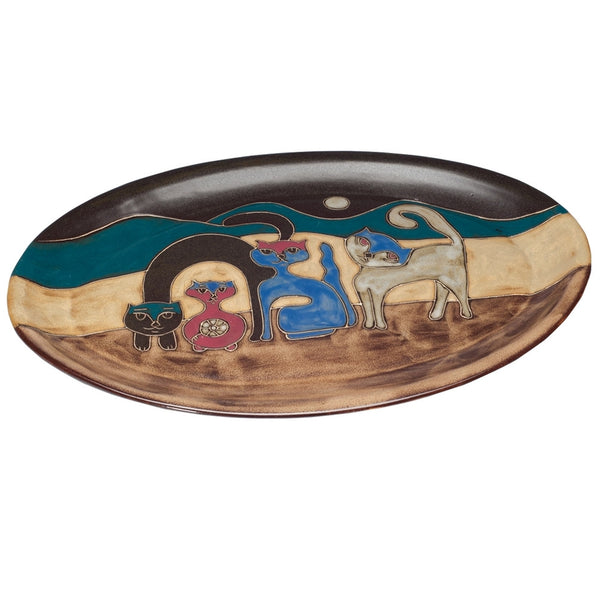 Cats Playing Hand-Etched Oval Serving Platter