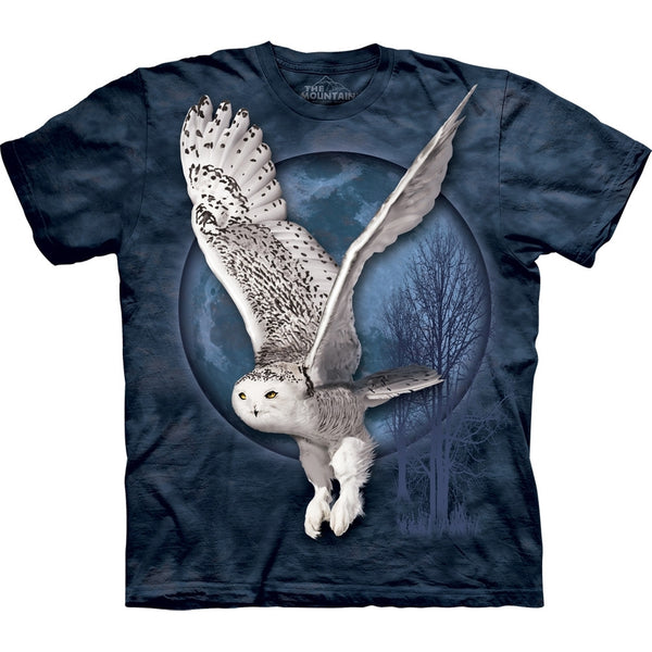 Snow Owl Flying in Front of Moon T-Shirt
