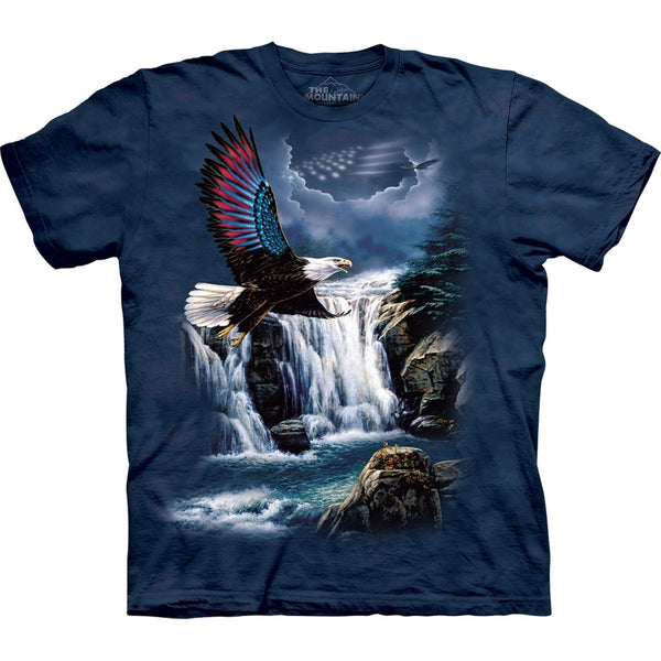 Eagle Flag Wing Soaring Over River T-Shirt