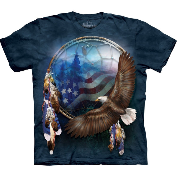 Eagle Flying in Patriotic Dream Catcher T-Shirt