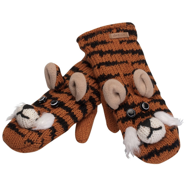 Tate the Tiger Knit Mittens