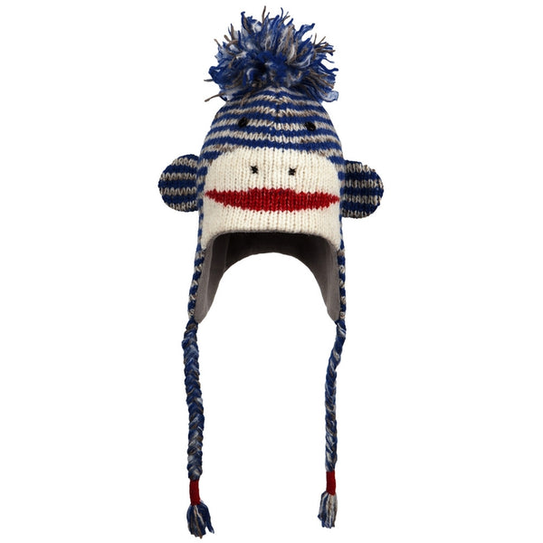 Cute Stripe Sock Monkey Peruvian Knit Hat