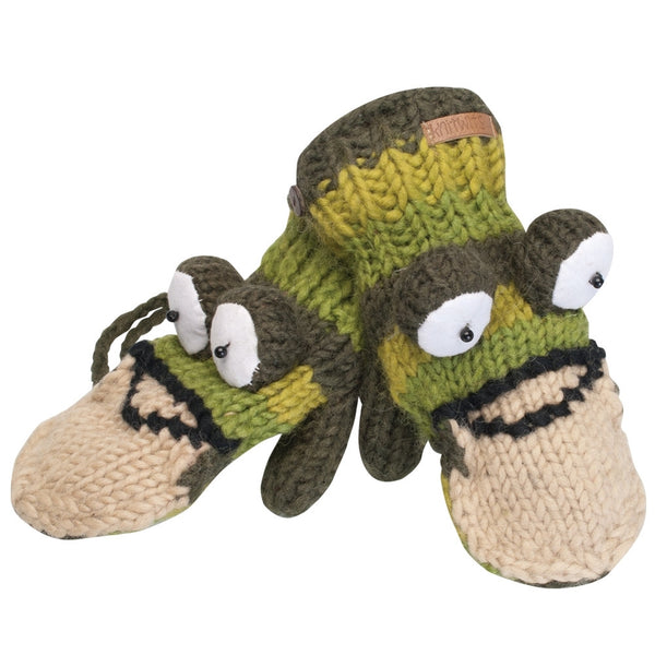 Fernie the Frog Kids Knit Mittens