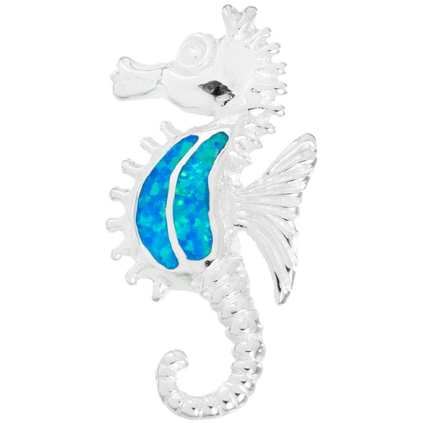 Seahorse Blue Opal Sterling Silver Pendant