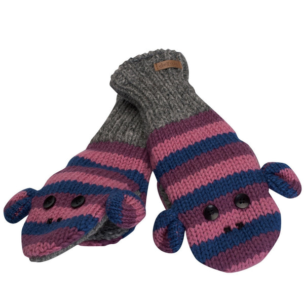 Purple Stripe Sock Monkey Knit Mittens