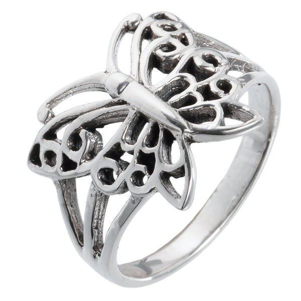 Butterfly With Pointed Wings Sterling Silver Ring