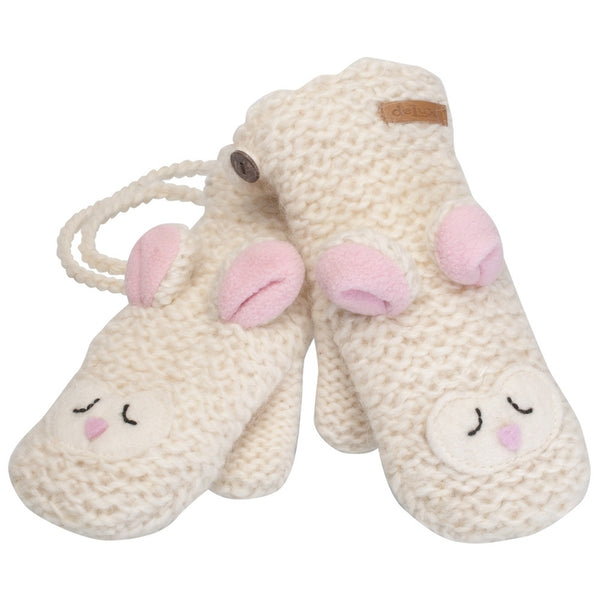 Lally the Lamb Kids Knit Mittens