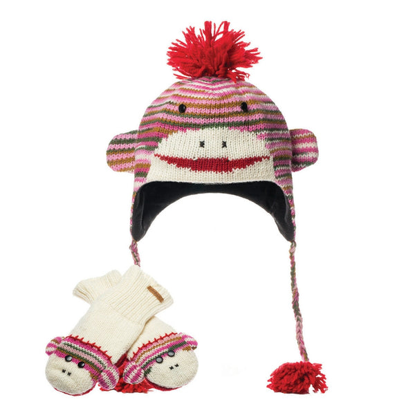 Multiyarn Sock Monkey Peruvian Knit Hat & Mittens Set