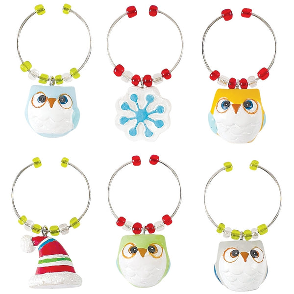 Snowy Owls Wine Glass Charm Set
