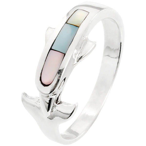 Dolphin With Multi-Color Stones Sterling Silver Ring