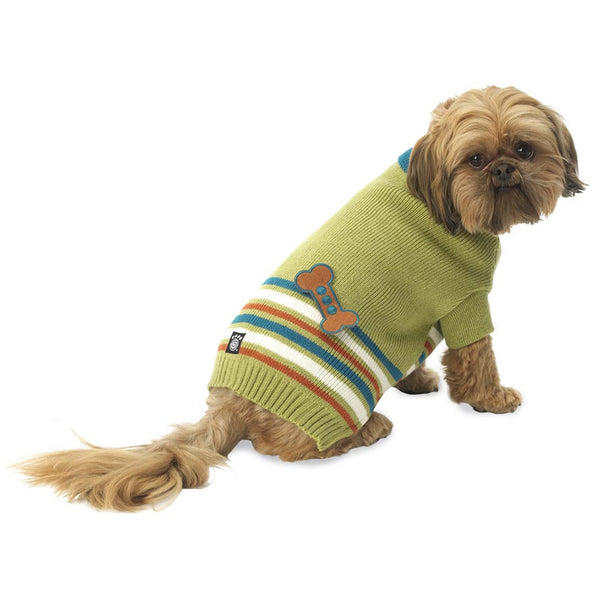 AJ's Bone Applique Green Dog Sweater