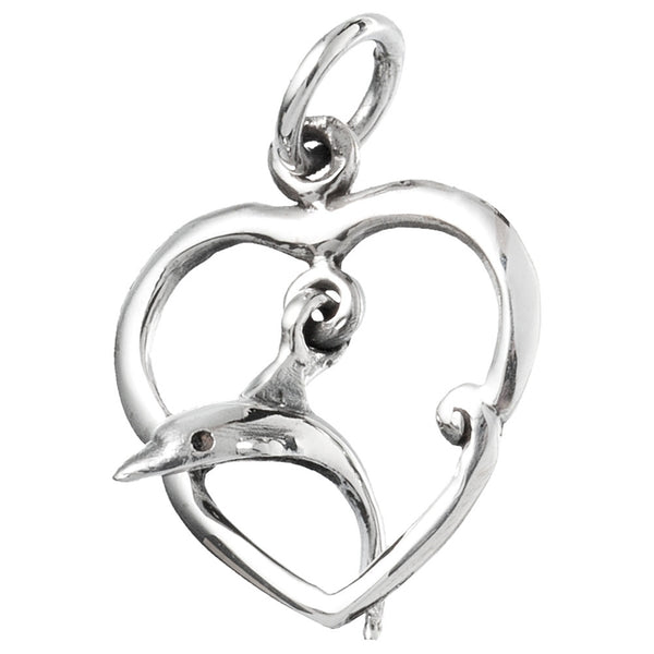 Dolphin Diving Through Heart Sterling Silver Pendant