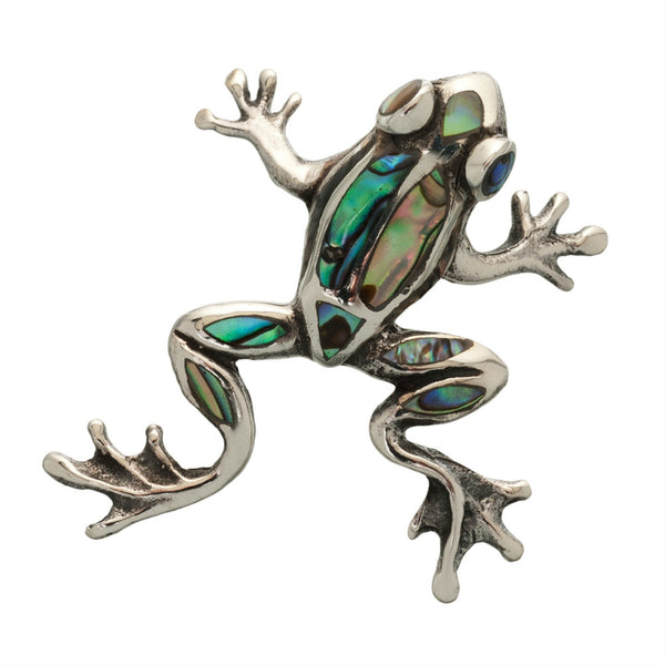 Frog Facing Up With Abalone Inlay Sterling Silver Pendant