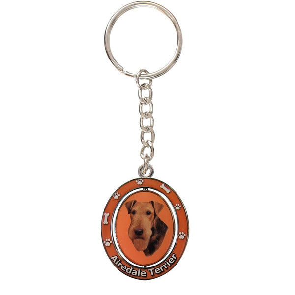 Airedale Portrait Oval Metal Keychain