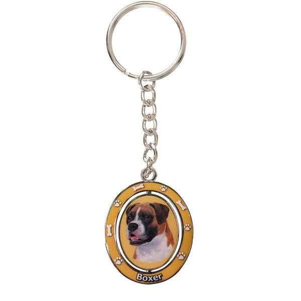 Boxer Uncropped Portrait Oval Metal Keychain