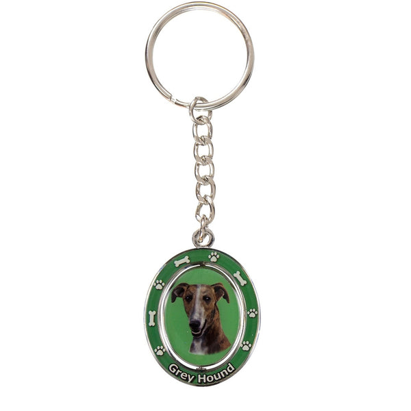 Brindle Greyhound Portrait Oval Metal Keychain