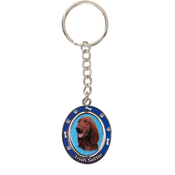 Irish Setter Portrait Oval Metal Keychain