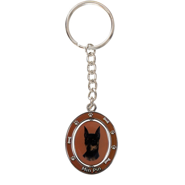 Miniature Pinscher Portrait Oval Metal Keychain